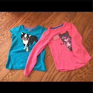Lot 2 Girls Shirts Size S/P/CH Short & Long Sleeve